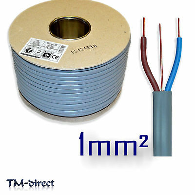 1mm sq 6242Y Grey Twin and Earth T E Wire BASEC Certified Electric 3 Core Cable