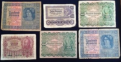 World Paper Money 1922 Austria Lot Of 6 Banknotes 10, 20, 100, 1000 Kronen