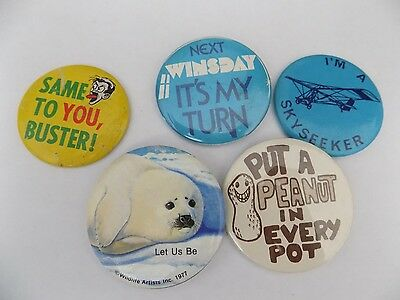 Vtg Pinback Button Badge Lot G3 1977 Wildlife Old Tin Same to You Buster Skyseek