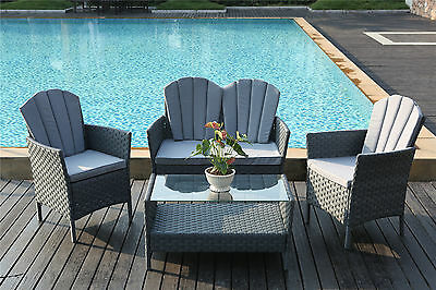 4-Piece Outdoor Rattan Furniture Conservatory Patio Sofa Set Table and Chairs