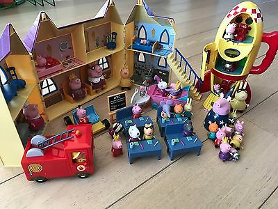 Peppa Pig Toy Bundle - Castle, Space Ship, Fire Engine, School, Figures