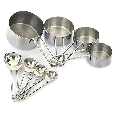 Measuring Stainless Steel Cup Set 1 Cups Piece New 8 And Spoon for Kitchen