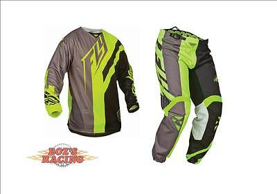 Closeout  Fly Racing Kinetic Division Gray Hi-Vis Jersey And Pant Combo