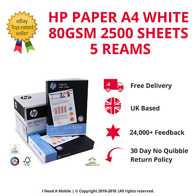 Hp Paper A4 White 80Gsm 2500 Sheets 5 Reams