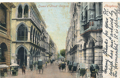 Postcard Queen's Road Central Hong Kong. 1904 Posted  HK to Scotland