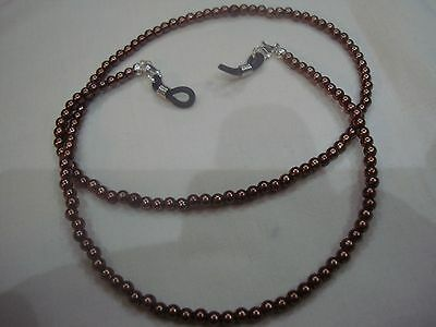 Brown faux pearl specs sunglass chain converts to necklace ideal gift easy post