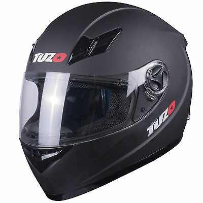 Tuzo Tracer Full Face Motorcycle Crash Helmet Matt Black XL