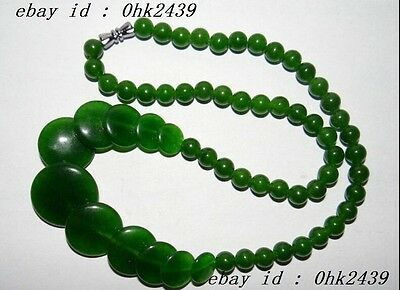 "18"" China Nature Jade Green Round Pearls Women's Necklace Pendants"