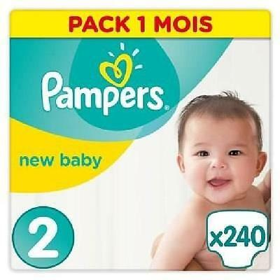PAMPERS New Baby Taille 2 - 3 à 6kg - 240 couches - Pack Economique 1 Mois...
