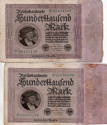 Banknotes  Germany 100000 Thousand Marks X2 Items