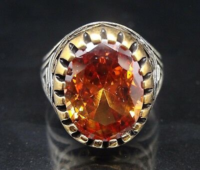 Turkish Handmade  925 Sterling Silver Agate Mens Ring Sz 10 Free Resize