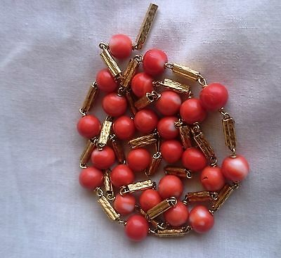 Antique victorian18k solid gold and  genuine red coral beads necklace 28.5 grams