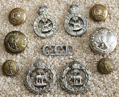 Africa Vintage British Colonial Police Badges Buttons Commonwealth African