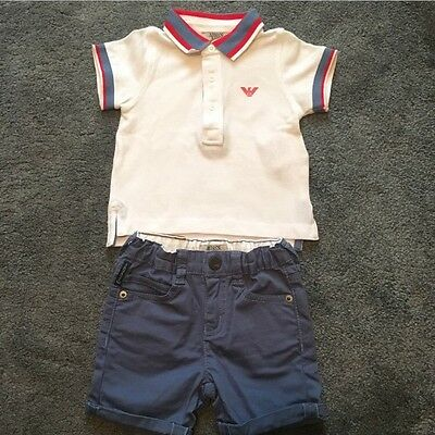 Armani Baby Boys 2Pc T-Shirt And Shorts Set 6 Months
