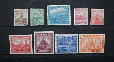 NEPAL 1949 Definitives Set of 9 Temples. Mint HINGED. SG64/72.