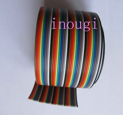 New 1.27mm 40 pin Dupont cord Wire Flat Color Rainbow Ribbon Cable 50cm 1.5ft