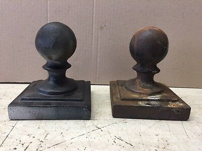 "Two Vintage  2 1/2"" Round Ball Cast Iron 4"" x 4"" Fence Caps"
