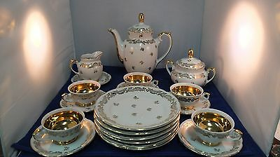 20 PIECE SET  Dresden China  TEA  SET - White W/Gold GOLD LINED CUPS