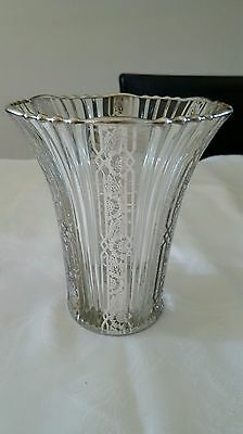 Beautiful Glass Vase With Sterlin Silver City Overlay Decoration