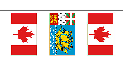 Saint Pierre and Miquelon & Canada Polyester Flag Bunting - 20m with 56 Flags
