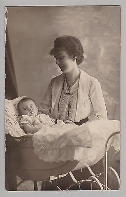 Antique Real Photo PC: Loving Mother - Baby In Pram - Pretty Blanket - c1918