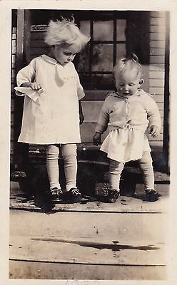 Beautiful Vintage Photo - Two Little Blonde Boys In Smocks - Standing On Porch
