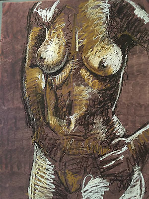 Large Abstract Female Nude Painting Signed by Artist Carl Johnson Oil Stick