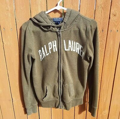 Vintage Polo Jeans Co Ralph Lauren Full Zip Hoodie Sweatshirt SMALL olive green