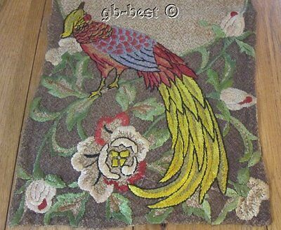 Antique ARTS CRAFTS Exotic Birds Embroidered RUNNER 59""