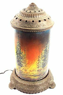 Antique Forest Fire Motion Lamp -  Scene In Action Corp Chicago Complete WORKS !