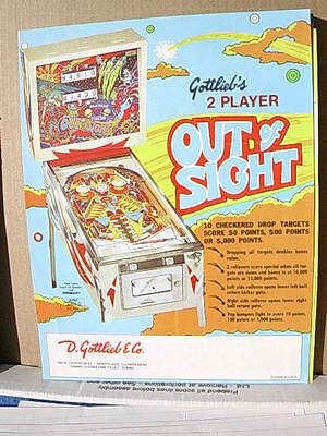 1974 Gottlieb OUT OF SIGHT Pinball Advertising Flyer