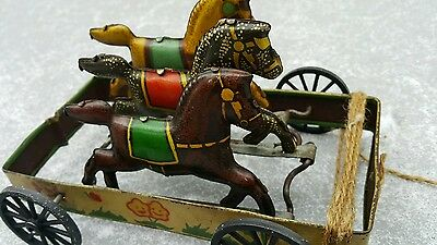 Vintage Three Horses 1930 Russian Troika Pull Up Tin Toy Metal Plastic Works