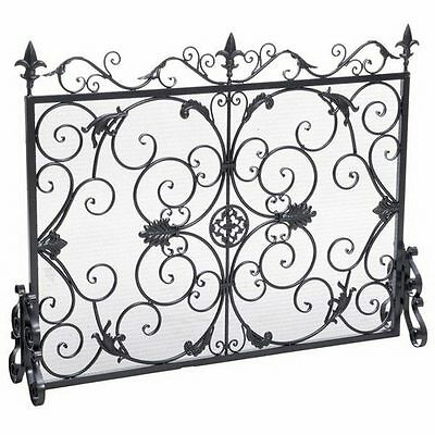 Home Silver Ornate Floral Scroll Design Black Iron Metal Fireplace Hearth Screen