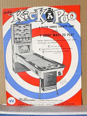 1965 United KICKAPOO Shuffle Targette Arcade Game Advertising Flyer
