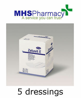 5 x Cellulose Absorbent Dressings 10x10cm High Absorption Capacity - Zetuvit E