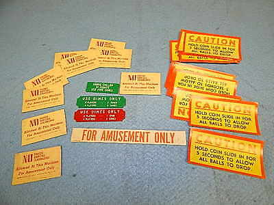 1940s-1950s Bingo Pinball Pricing and Warning cards