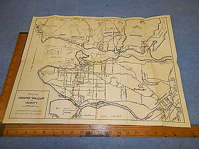 1936 Map of Greater Vancouver, British Columbia - Hotel Grosvenor