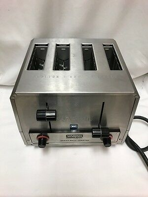 (3U) Waring WCT810 Heavy Duty 4 Slot Combination Bread & Bagel Toaster 120V