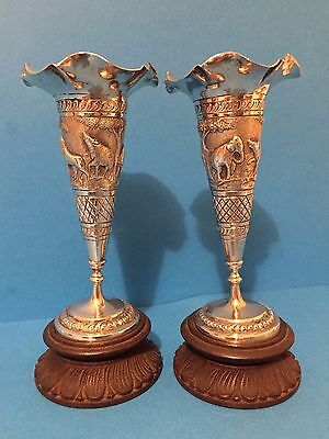 Pair of Indian Silver Vases on Stands c1900