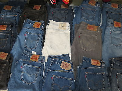 Lot Of 17 Pairs Of Mens Jeans Levis Lucky True 501 505 517 Blue Sizes 34-36