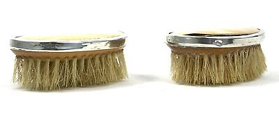 Vintage Sterling Silver Mother of Pearl Clothes Brushes Pair Small London 1927