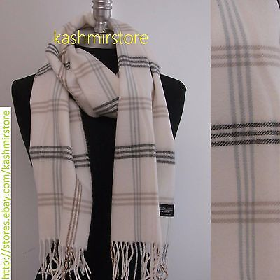 New 100%CASHMERE SCARF Check Plaid Scotland Soft Warm Wool Color White/Gray