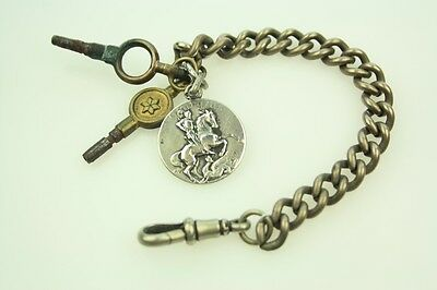 Antique Silver Plated Watch Chain With St George Dragon Silver Medal Fob & Keys