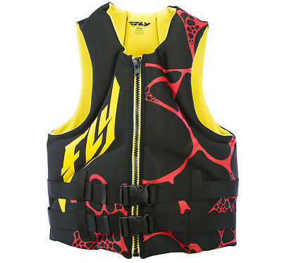 FLY Racing Mens Neoprene Life Vest Black/Yellow/Red XL