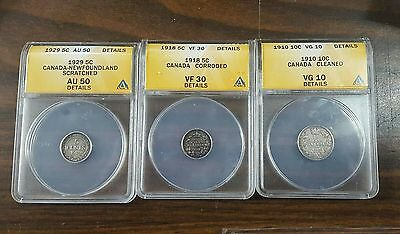 Lot Of Three Anacs Graded 5 Cent & 10 Cent Canada Silver Coins