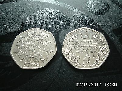 2 Rare Collectable 50p.Fifty Pence.Beatrix Potter 2016 & EU 25th Anniversary.