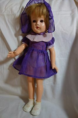 "1930's Effanbee Anne Shirley Composition Doll-Orig. Purple Dress/Hat-14""-LOVELY"