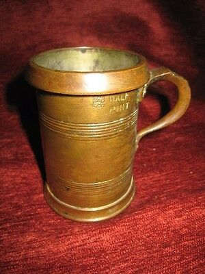 Antique Victorian Copper Brass 1/2 Pint Tankard Imperial Measure
