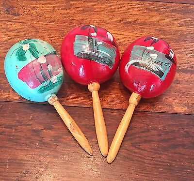 "Set of 3 Vintage Maracas Made in Mexico 8"" VERY NICE!"