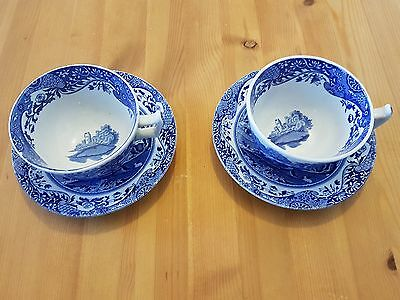Spode Italian Design Cup And Saucer X Two Blue And White